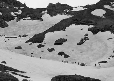 Nad Lücknerhutte proti Stüdlhüttel 2801m