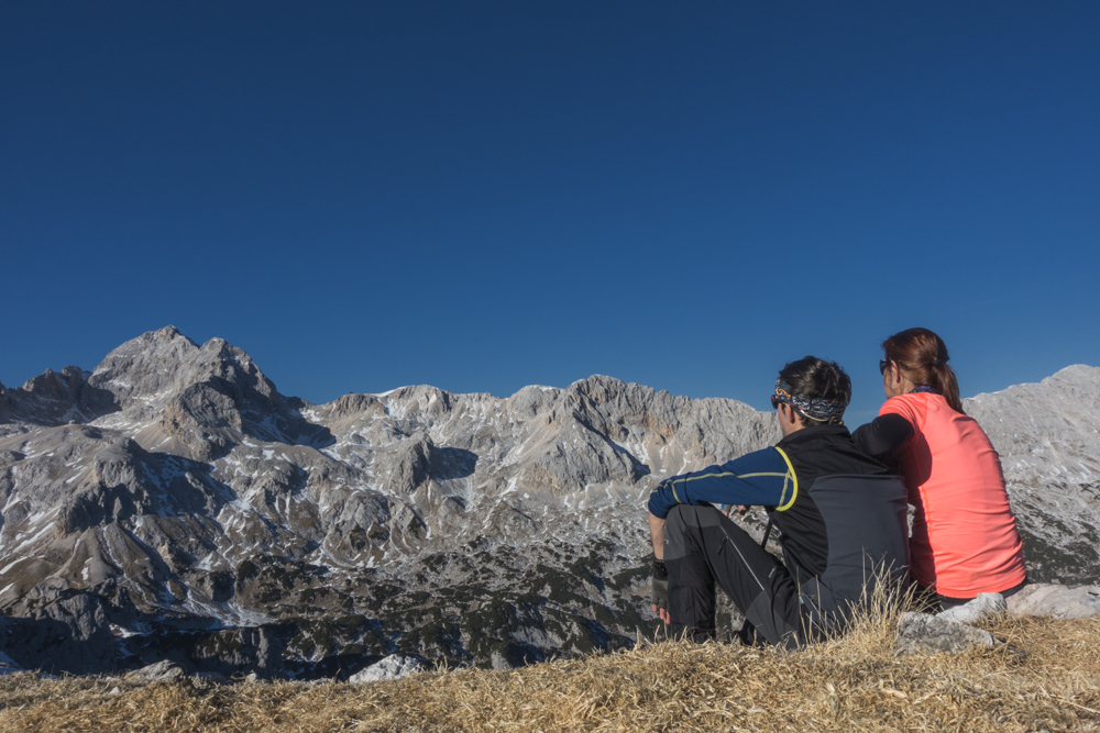 Mi2 na Velikem Draškem vrhu s pogledom na Triglav